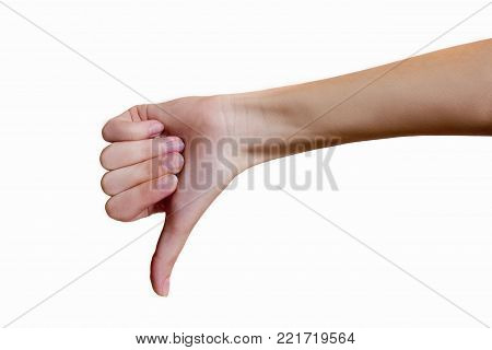 Hand of a young woman on a white isolated background