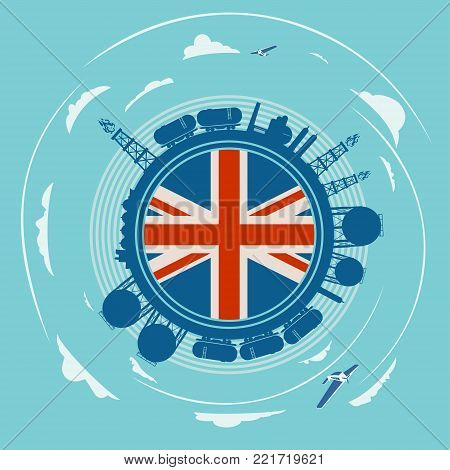 Circle with energy relative silhouettes. Objects located around circle. Flag of the Great Britain in the center of circle. Modern brochure, report or leaflet design template.