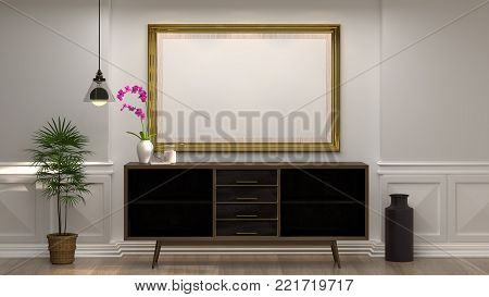 mock up empty photo frame with wooden cabinet with lamp in front of empty white wall decorative items minimal style in empty room vintage style,3D illustration luxury living room modern mid century room interior home design