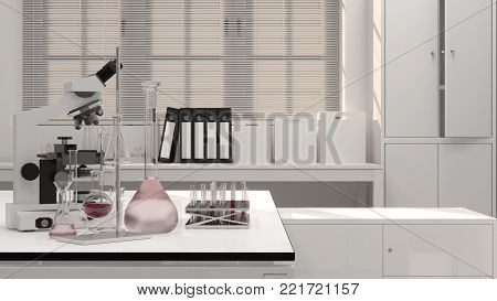 3D illustration laboratory science research and development Clean modern white laboratory Horizontal template for a poster laboratory equipment