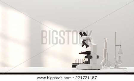 3D illustration laboratory development research Clean modern white laboratory Horizontal template for a poster laboratory equipment without people