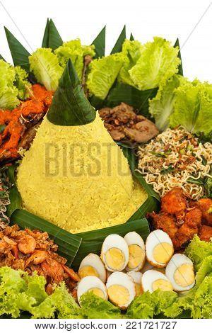 portrait of indonesian food nasi tumpeng for celebration