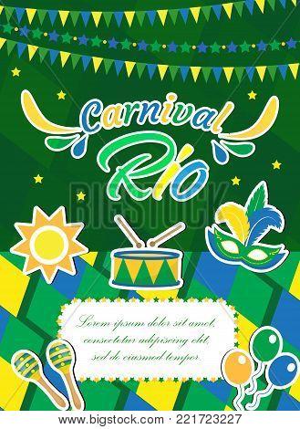 Welcome Brazil carnival  poster, invitation, flyer. Templates for your design. Brazilian Festival, Masquerade background. Rio de Janeiro Travel concept. Vector illustration