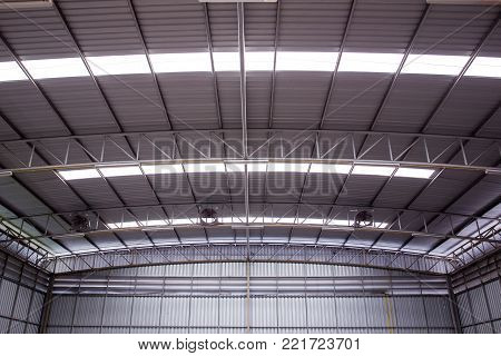 Photograph of the modern eco roof structure of warehouse.