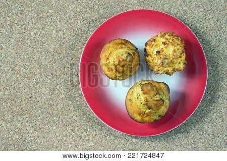 Balkan cuisine . Proja - bread from corn - on red plate. Free space for text