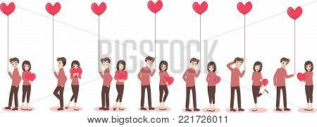 Set of characters cartoon cute couple of lover for love valentine's day, holidays of love flat decorative elements with young women and men, romance, hearts, heart balloons of love,vector illustration
