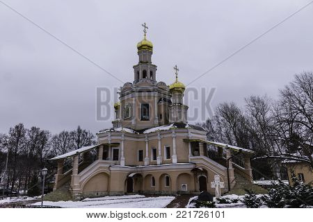 Church of Saints Boris and Gleb in Zyuzino. Thaw in the middle of winter.