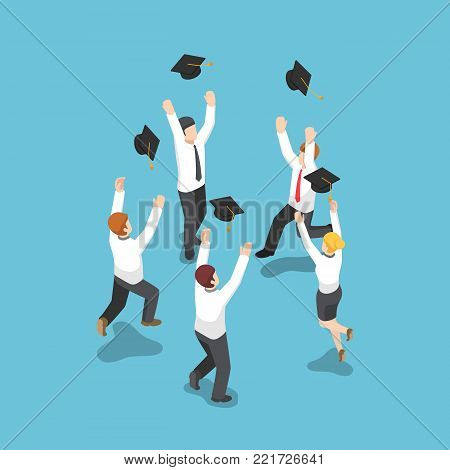 Flat 3d isometric businessman throw graduation hat in the sky. Business and education concept.