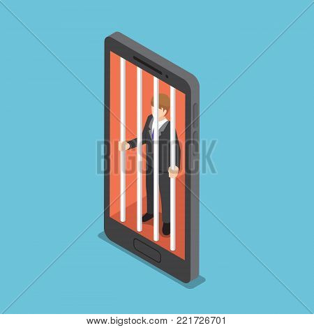Flat 3d isometric businessmen are trapped in a smartphone cage. Smartphone addiction concept.
