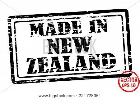 Made in New Zealand - template of grunged black square stamp for business isolated on white background. Usable as rubber, banner, label, logo, icon or watermark for manufactured products etc.