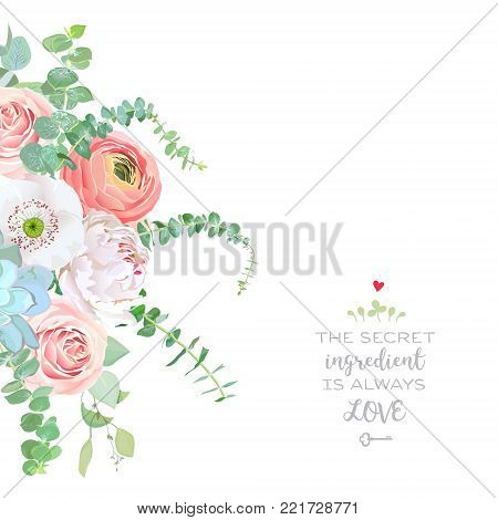 Watercolor style flowers bouquet frame. Ranunculus, peony, pink rose, white poppy, succulent, baby blue eucalyptus. Vector greenery illustration for simple, natural chic wedding design. Isolated.
