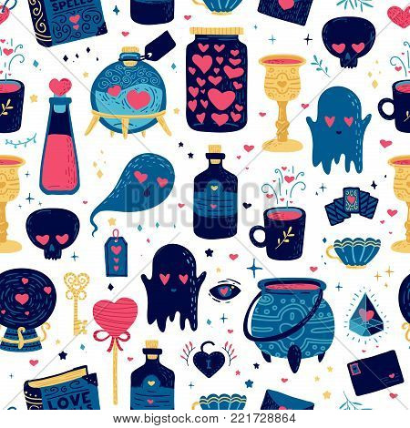 Design simless pattern with cute doodle magic element. Backdrop for happy valentine's day with love drink, character ghost, jar of heart and wizard ball . Wallpaper for fabric. Vector.
