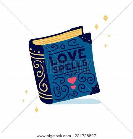 Template design banner with doodle book. Poster with cute book love spells. Illustration for love invitation for happy valentine day. Vector.