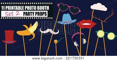 Photo booth props collection for birthday or wedding party vector illustration. Funny icons for banana, glasses, mustache and other elements for making hipster style photo booth collage