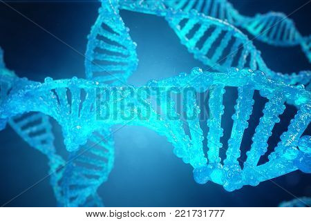3D Illustration Helix DNA molecule with modified genes. Correcting mutation by genetic engineering. Concept Molecular genetics.