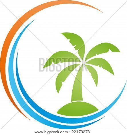 Island, sun and palm tree, colored, Tropical island, travel logo