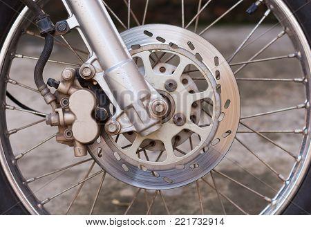 disc brake system of modern motorcycle's front wheel.