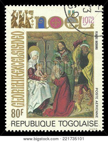 Togo - circa 1972: Stamp printed by Togo, Color edition on Art, shows Painting Adoration of the Magi Christmas theme, circa 1972