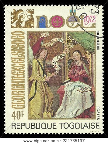 Togo - circa 1972: Stamp printed by Togo, Color edition on Art, shows Painting Religious  Christmas theme, circa 1972