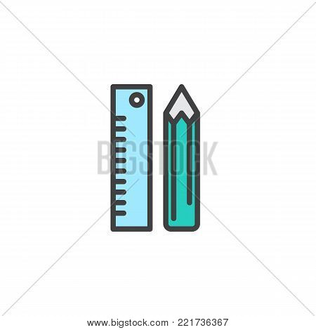 Pencil and ruler stationery filled outline icon, line vector sign, linear colorful pictogram isolated on white. Stationery symbol, logo illustration. Pixel perfect vector graphics