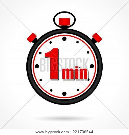 Illustration of one minute stopwatch on white background
