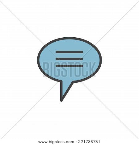 Chat speech bubble filled outline icon, line vector sign, linear colorful pictogram isolated on white. Chatting symbol, logo illustration. Pixel perfect vector graphics
