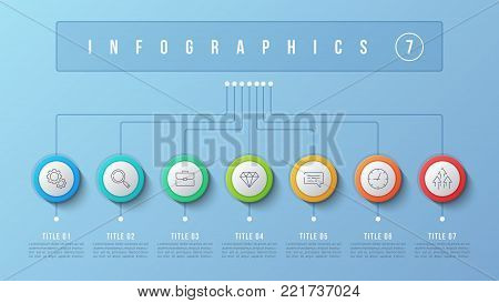 Vector 7 options infographic design, structure chart, presentation template. Editable stroke and global swatches