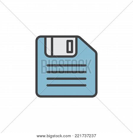 Floppy disk filled outline icon, line vector sign, linear colorful pictogram isolated on white. Symbol, logo illustration. Pixel perfect vector graphics