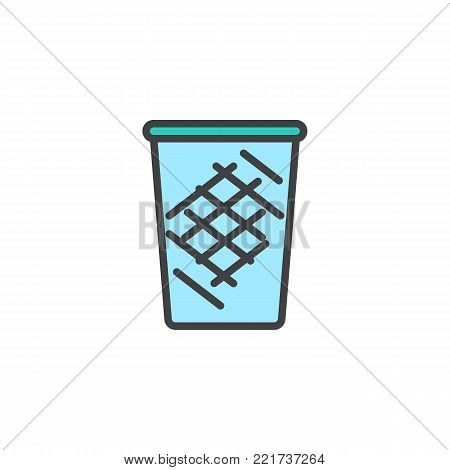 Trash can filled outline icon, line vector sign, linear colorful pictogram isolated on white. Recycle bin symbol, logo illustration. Pixel perfect vector graphics