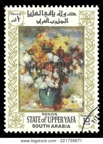 South Arabia - circa 1967: Stamp printed by South Arabia, Color edition on Art, shows Painting Still life by Renoir, circa 1967