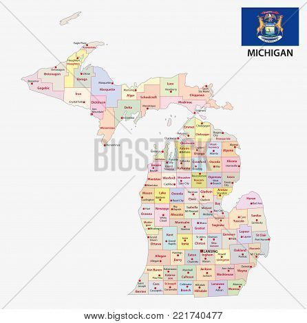 michigan administrative and political vector map with flag