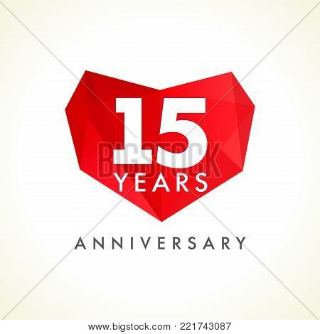 Anniversary 15 years old celebrating logotype with hearts. Luxurious celebrating congratulating greetings, stained glass numbers template. Valentine's Day abstract emotional lovely isolated shape.