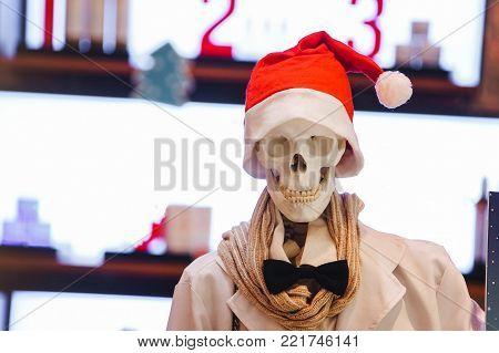 White plastic skeleton wearing glasses and Chrismas clothings