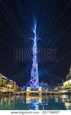Dubai, UAE, January 7, 2018: Burj Khalifa lit up in celebration for New Year