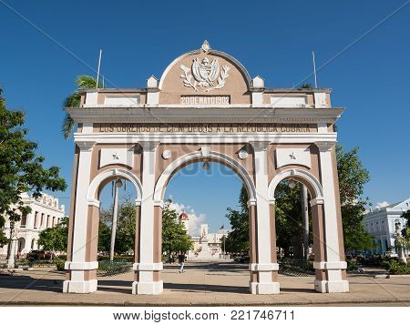 Cienfuegos, Cuba - December 7, 2017: Arc de Triomphe in the square of Cienfuegos