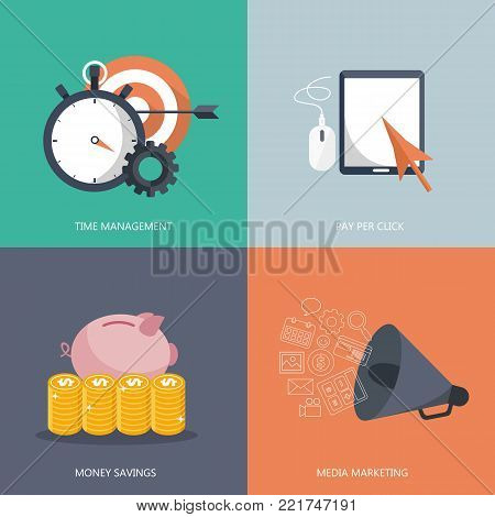 Modern flat icons vector collection in stylish colors of web design objects. Icons for time management, pay per click, money savings and media marketing