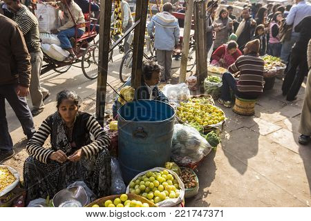 DELHI, INDIA - December 20 2014 :  vegetable stall in street market at spice market in Old delhi. this place is biggest herb and spice wholesale of delhi