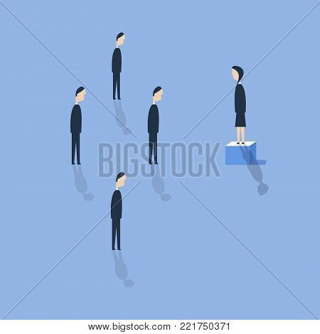 Business woman leader speaking on top of the column graph, vector illustration. Royalty free stock images.