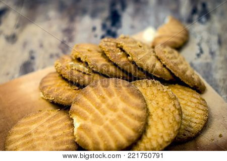 Home Made Freshly Baked Biscuits  In A Glass Plate.