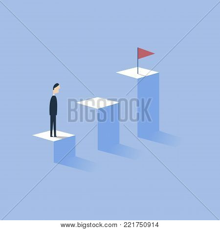 Business concept of goals, success, achievement vector illustration. Royalty free stock images.