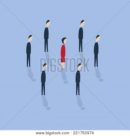 Businesswoman being different. Talent or special skills symbol. Vector illustration. Royalty free stock images.