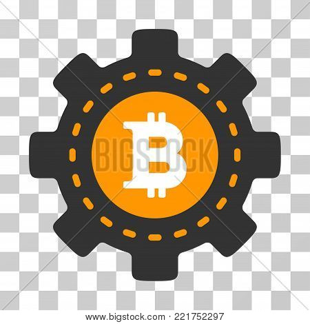 Bitcoin Configuration Gear vector icon. Illustration style is flat iconic symbol on a chess transparent background.