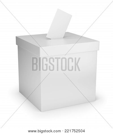 White voting box. 3d image. White background.