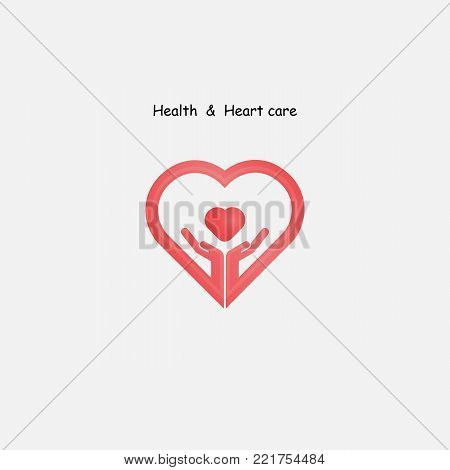 Human hand with Heart icons vector logo design template.Love sign.Health and Heart Care icon.Healthcare & medical concept.Vector illustration