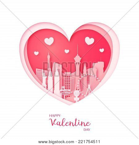 Valentines card. Paper cut heart and the city Las Vegas. Happy Valentine day. Vector illustration.