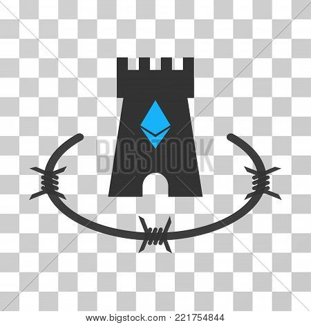 Ethereum Bulwark vector icon. Illustration style is flat iconic symbol on a chess transparent background.