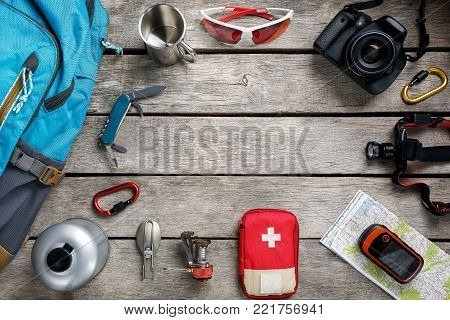Set Of Accessories For Cycling On Wooden Background