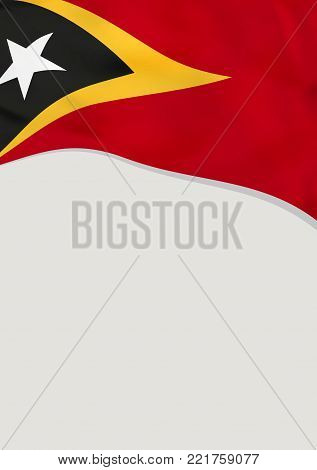 Leaflet design with flag of East Timor. Vector template.