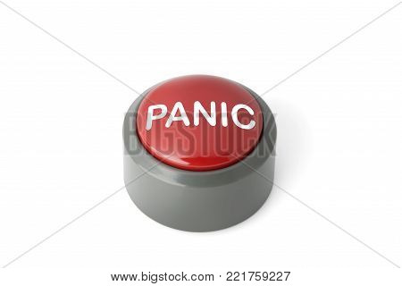 Red circular panic button on a white background