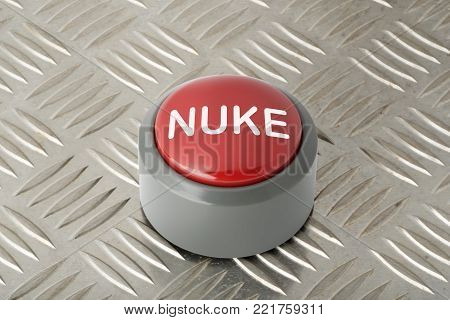 Red circular push button labeled 'nuke' on aluminum diamond plate background